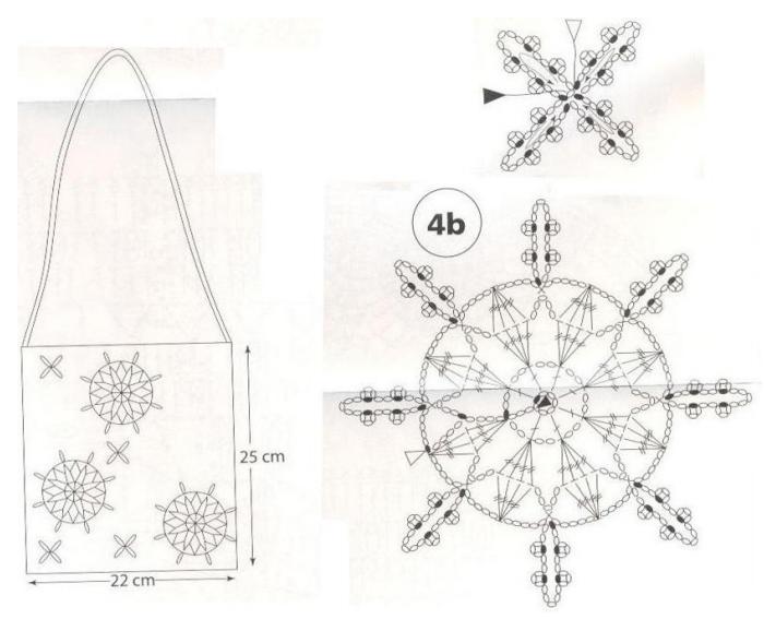 Снежинки крючком для украшения шарфика и сумочки (1) (700x567, 379Kb)