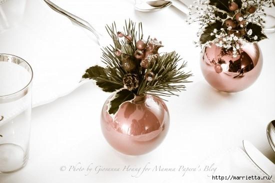 Для праздничной сервировки стола. Вазочки из елочных шаров (7) (550x366, 108Kb)