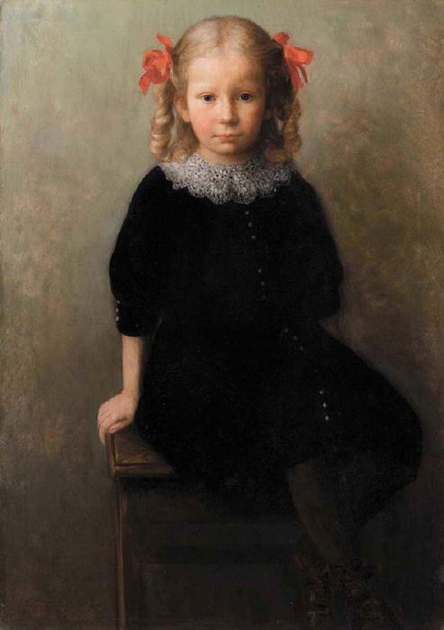 (Jozef Pankiewicz, 1866 – 1940) девочка с красным бантом 1930-е (493x700, 29Kb)