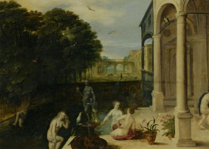 4000579_Stalbernt_Adriaen_Van_Nymphs_Bathing_in_a_Classical_Garden_Setting_Oil_on_Panel (700x498, 252Kb)