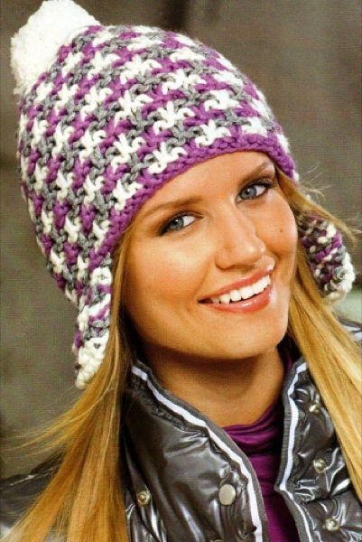 <схема вязания шапки спицами