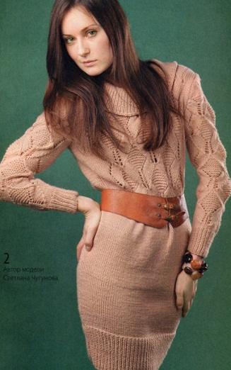 теплое платье спицами схема