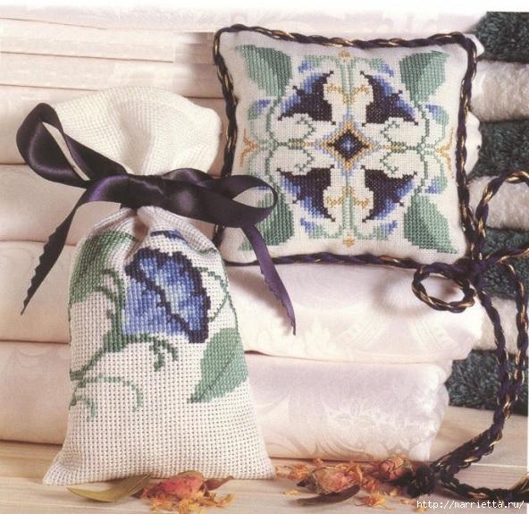 Вышивка для саше и подушечки. Схемы (1) (592x575, 257Kb)