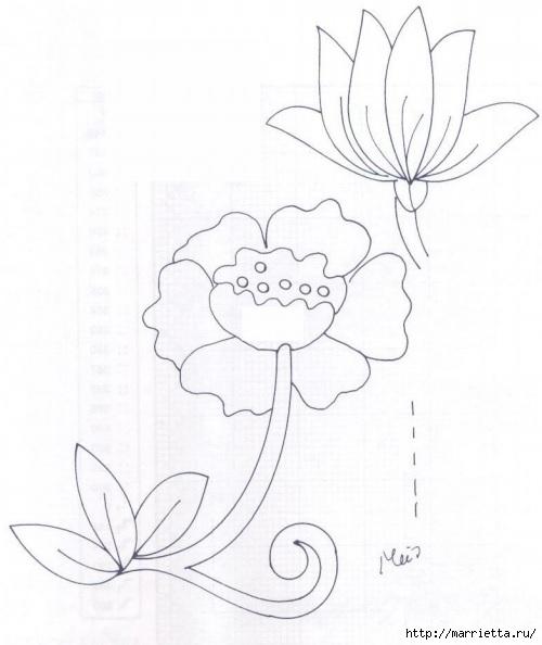 Подушки из мешковины и бархата с цветочной вышивкой (7) (500x594, 110Kb)
