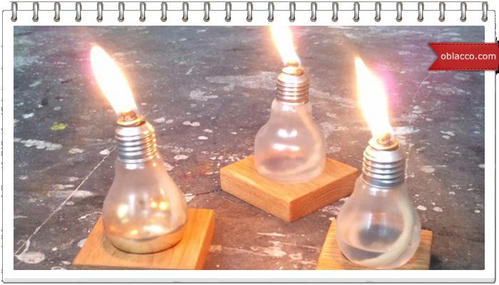 Масляный светильник из перегоревшей лампочки