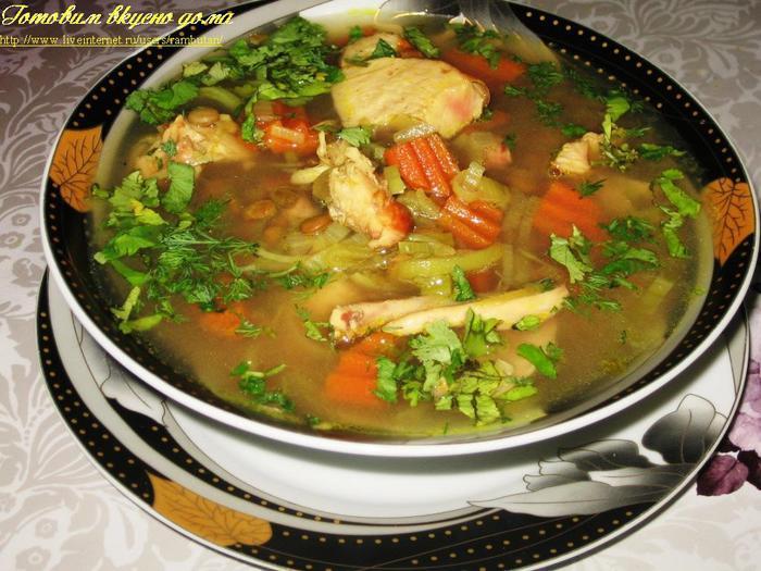 Суп с куриный с чечевицей рецепт