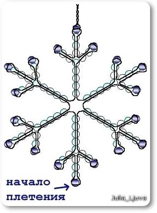 Область применения их достаточно широка, ведь снежинки из бисера схемы плетения бывают самыми разнообразными. .