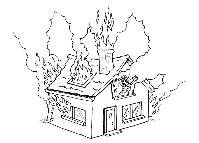 Раскраска на тему пожара