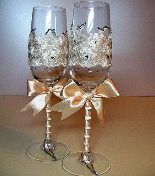 Фото украшения бокалов на свадьбу своими руками