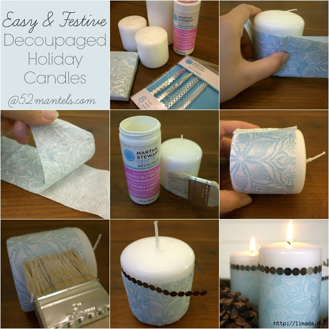 diy decoupaged candles at 52mantels.com (640x640, 281Kb)