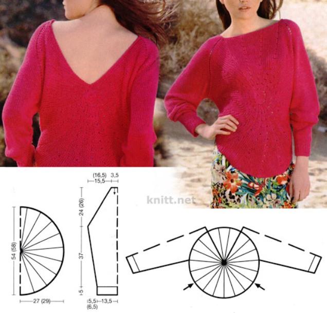 pulover-s-luchami-iz-centra-spicami-shema (636x610, 88Kb)
