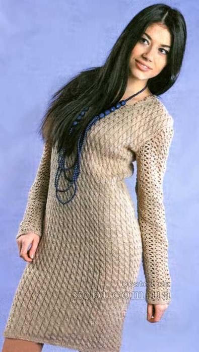 Схемы вязания платья с длинным рукавом