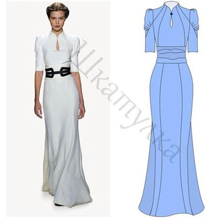 Фото платьев с длинными рукавами и выкройки