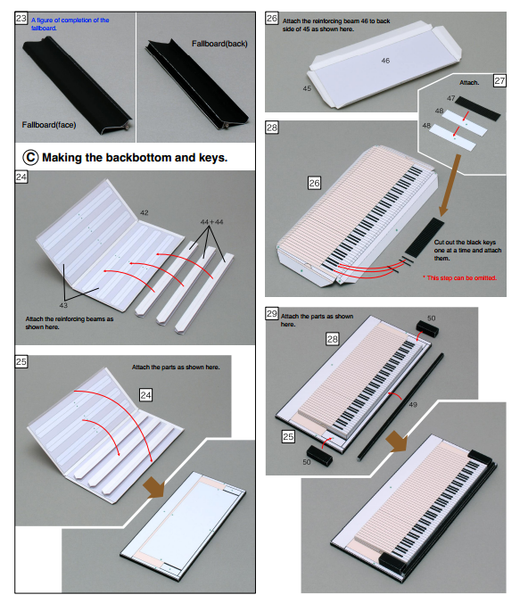 Как сделать из бумаги для кукол пианино