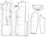 Выкройка пальто с потайной застежкой.  Для окончания чертежа следует разрезать деталь спинки и полочки по линиям...
