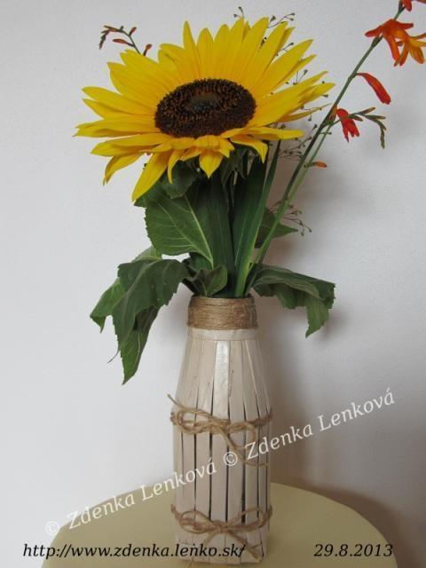 Вазочка для цветов. Оплетаем бутылку полосками бумаги (30) (480x640, 104Kb)