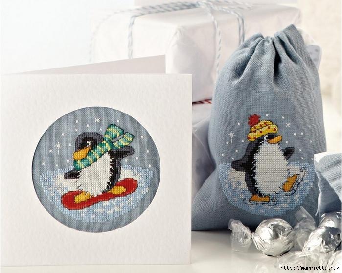 Вышивка пингвинов для подарочных мешочков и открыток (1) (700x558, 266Kb)