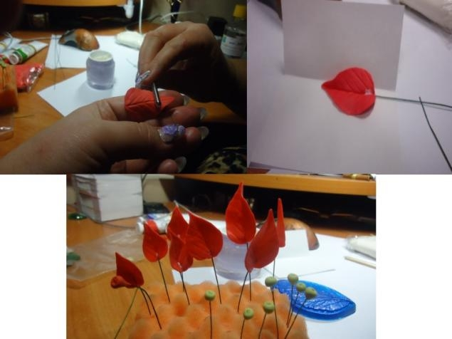 Poinsettia.  Ideas y clase magistral sobre la escultura de la estrella de Navidad (5) (635x476, 101Kb)
