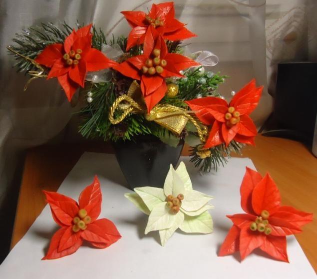Poinsettia.  Ideas y clase magistral sobre la escultura de la estrella de Navidad (10) (635x558, 143Kb)