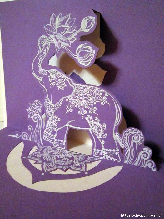 3D-открытка Сиреневый слон, автор Shraddha (1) (525x700, 339Kb)
