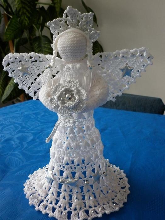Рождественские ангелы крючком (3) (525x700, 250Kb)