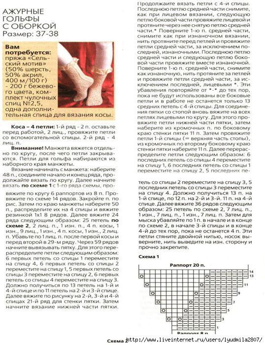 Ажурные носки спицами схемы с описанием: 25 тыс изображений 25