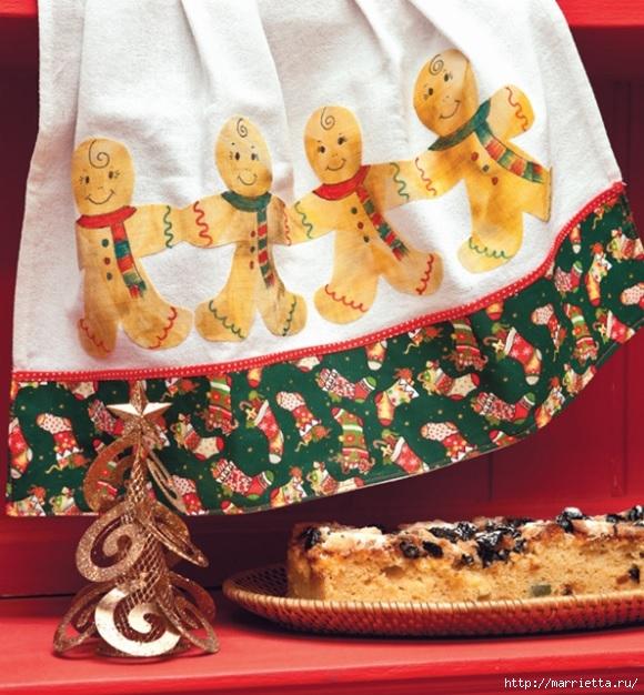 Aplicación festiva para el hombre de pan de jengibre toalla de cocina (2) (580x626, 268Kb)