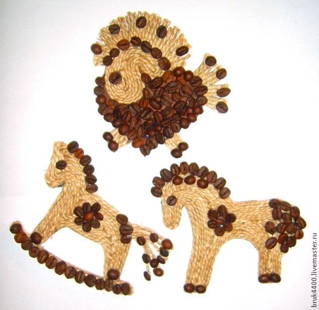 Кофейно-джутовые лошадки - магнитики на холодильник (12) (635x618, 145Kb)