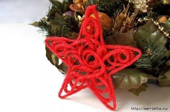Рождественская звезда из шерстяной пряжи (1) (550x361, 95Kb)