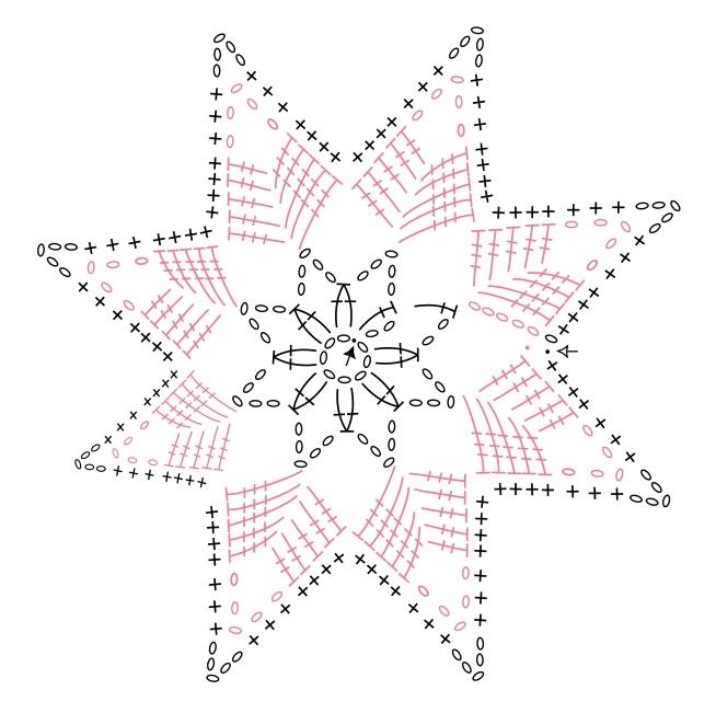 рисунок снежинку вяжем