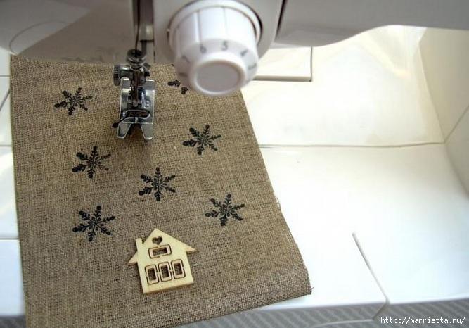 Идеи упаковки новогодних подарков. Шьем мешочки и украшаем их орешками (7) (667x466, 182Kb)