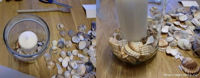 Подсвечник из банки, декорирование ракушками и кружевом (4) (700x274, 157Kb)