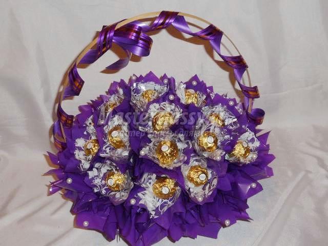Корзинка из конфет своими руками мастер класс