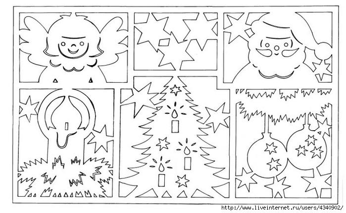 Рисунки из бумаги на новый год на стекле