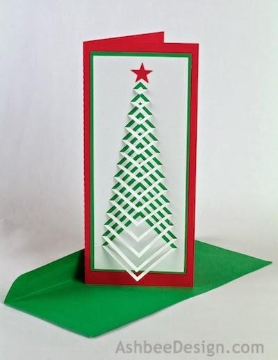 Новогодние елочки из картона. Открытка и силуэтная елочка (1) (400x518, 82Kb)