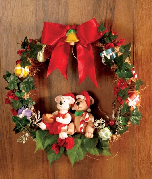 Рождественский венок с мишками из холодного фарфора. Мастер-класс (1) (533x626, 258Kb)