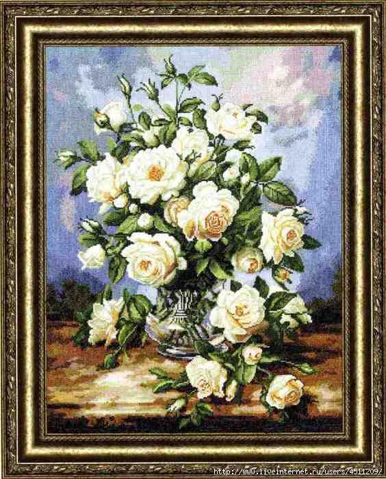 ЗР_ЛЦ-043 Букет белых роз (564x700, 244Kb)