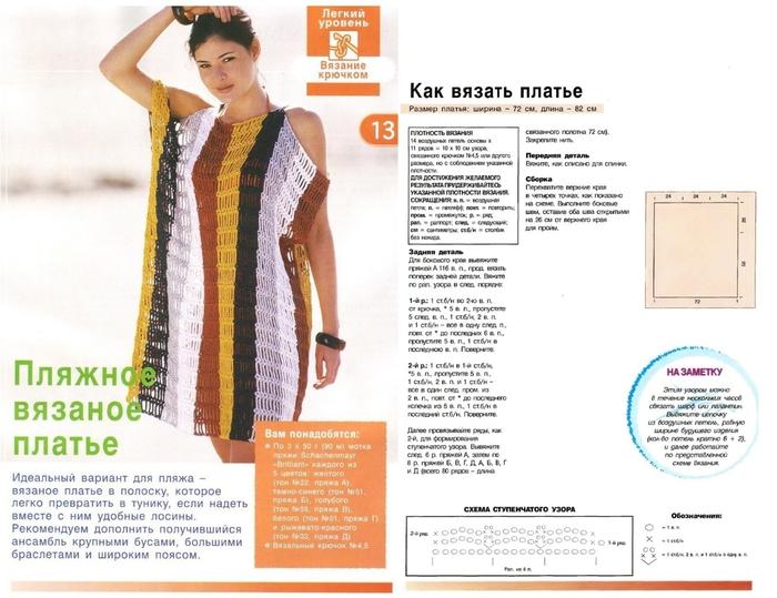 Вязание крючком схемы платьев для пляжа