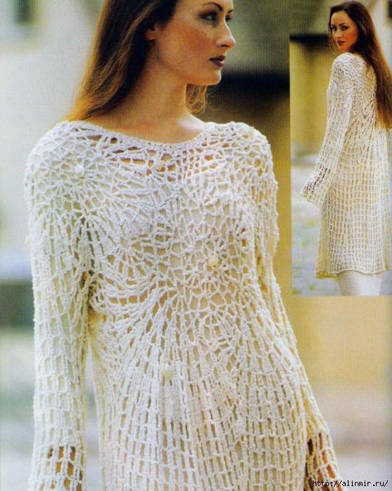 стильная туника вязание (560x700, 351Kb)