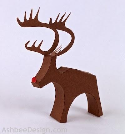 Renos y trineo con los regalos de Navidad de papel.  Plantillas (11) (400x431, 66Kb)