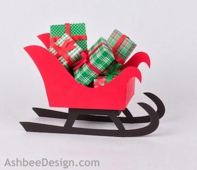 Renos y trineo con los regalos de Navidad de papel.  Plantillas (57) (400x346, 59Kb)