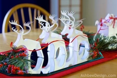 Северные олени и сани с новогодними подарками из бумаги. Шаблоны (2) (450x300, 100Kb)