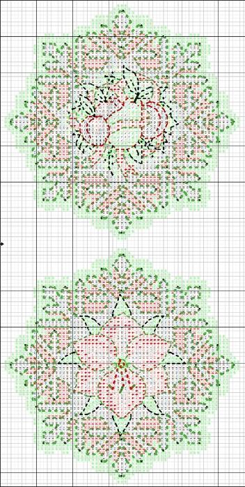 схемы вышивки снежинок (1) (352x700, 258Kb)