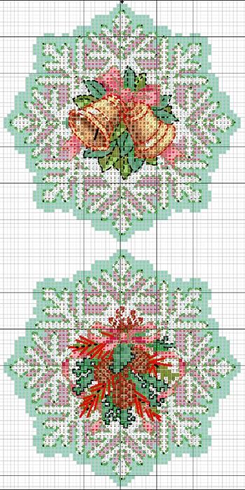 схемы вышивки снежинок (5) (350x700, 256Kb)