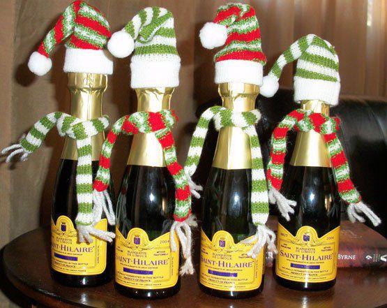 Новогодние украшение шампанского своими руками