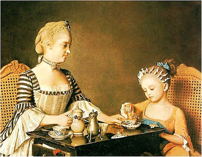 J4ean-Etienne Liotard (Swiss artist, 1702-1789)  Madame Liotard and her Daughter (2) (700x546, 95Kb)