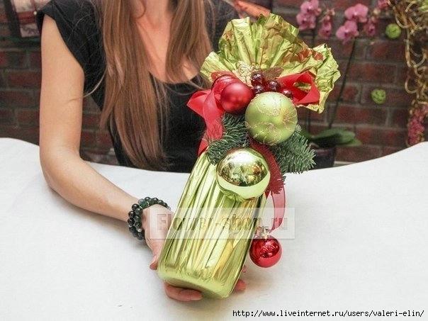 Как оформить бутылку шампанского на новый год своими руками конфетами