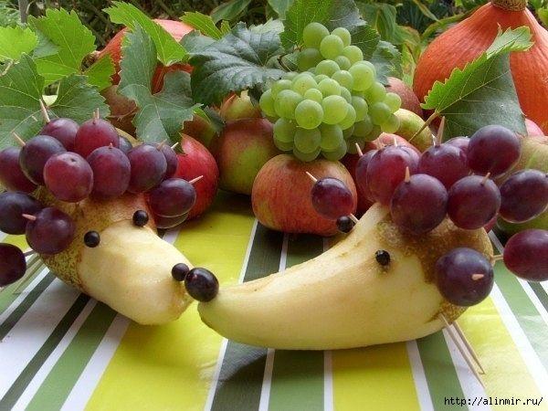 блюда украшения фруктовые ежи (600x450, 171Kb)