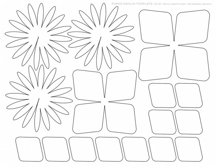 Цветы из бумаги. ГЕОРГИНЫ. Шаблоны для распечатки (5) (700x540, 218Kb)