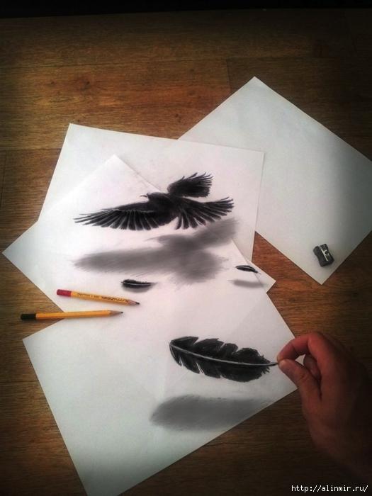трехмерные рисунки карандашом6 (525x700, 214Kb)